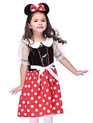 cheap -Micky Mouse Cosplay Costume Kid's Girls' Halloween Halloween Festival / Holiday Cotton / Polyester Blend Satin Black Carnival Costumes