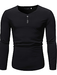 cheap -Men's Party Daily Club Basic T-shirt - Solid Colored Black