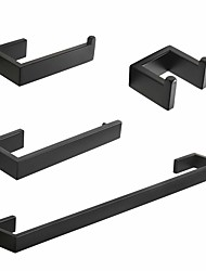 cheap -Luxurious 304 Stainless Steel Brushed Black Silver Bathroom Accessories Set Towel Bar Robe Hook Paper Holder Q8-5