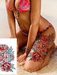 cheap -3pcs/lot waterproof tattoo stickers bikini peony tattoo & body art flower rose tattoo fake water transfer tattoo temporary tatoo leg arm