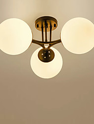 cheap -3-Light Chandelier Ambient Light Painted Finishes Metal Ceiling Light Semi Flush Pendant Lighting for Bedroom Living Room