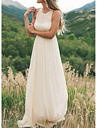 cheap -A-Line Jewel Neck Sweep / Brush Train Chiffon Regular Straps Country / Simple / Casual Plus Size Wedding Dresses with Draping 2020
