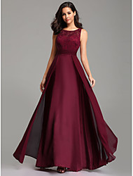 cheap -A-Line Empire Red Wedding Guest Prom Dress Jewel Neck Sleeveless Floor Length Chiffon Lace with Overskirt Lace Insert 2020