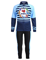 cheap -Nuckily Stripes Cartoon Boys' Girls' Long Sleeve Cycling Jersey with Tights - Kid's Blue Bike Clothing Suit Windproof UV Resistant Breathable Sports Winter Fleece Spandex Chinlon Mountain Bike MTB