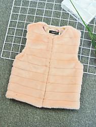 cheap -Kids Girls' Active Basic Solid Colored Regular Faux Fur Jacket & Coat Fuchsia
