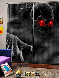 cheap -Personality Original Curtains for Bedroom /Sitting Room Happy Halloween Theme Red Eye Skull Background Blackout Custom Curtains