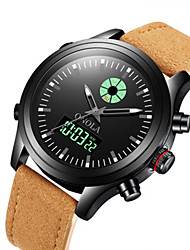 cheap -Men's Dress Watch Japanese Japanese Quartz Sporty Leather Black / Brown 30 m Water Resistant / Waterproof New Design Noctilucent Analog - Digital Outdoor - Black Brown Silver Two Years Battery Life