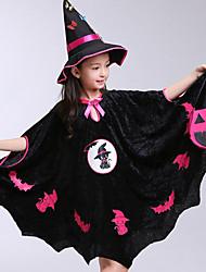 cheap -Kids Girls' Active Geometric Halloween Print Half Sleeve Above Knee Dress Black