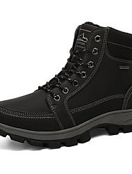 cheap -Men's Combat Boots PU Winter Casual Boots Hiking Shoes / Walking Shoes Warm Black / Yellow / Gray / Outdoor