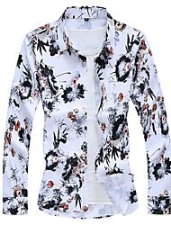 cheap -Men's Daily Business Plus Size Shirt - Floral Orange / Long Sleeve
