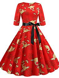 cheap -Women's Red Dress Basic Christmas A Line Color Block Print S M