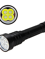 cheap -Diving Flashlights / Torch Waterproof 900 lm LED 1 Emitters Manual Mode Waterproof Camping / Hiking / Caving Diving / Boating Black