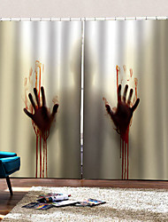 cheap -3D Digtal Printing Horrible Murder Background Curtain Thickening Blackout  Curtain Fabric Bedroom /Living Room / Bar Custom Curtain Ready Made