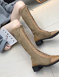 cheap -Women's Boots Knee High Boots Chunky Heel PU Knee High Boots Fall & Winter Black / Khaki