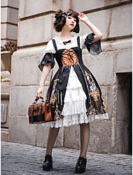 cheap -Traditional / Vintage Classical Rococo Dress Blouse / Shirt Girls' Female Japanese Cosplay Costumes Black Other Vintage Lace Flare Sleeve Half Sleeve Knee Length / Victorian