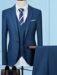 cheap -Men's Suits, Solid Colored Notch Lapel Rayon / Polyester Gray / Wine / Royal Blue