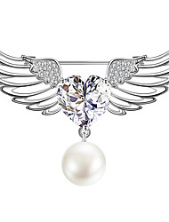 cheap -Women's AAA Cubic Zirconia Brooches Wings Stylish Simple Vintage Sweet Fashion Pearl Brooch Jewelry Silver For Party Gift Street Holiday Festival