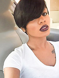 cheap -Human Hair Wig Short Straight Natural Straight Bob Pixie Cut Layered Haircut Asymmetrical Black Cool Comfortable Natural Hairline Capless Women's All Natural Black 8 inch / African American Wig