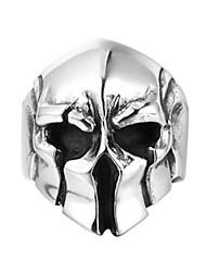 Недорогие -Муж. Кольцо 1шт Серебряный Титановая сталь Круглый Винтаж Классический Мода Для клуба Бижутерия Маски Шлем Cool