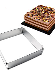 cheap -1pc Stainless Steel Adjustable DIY Everyday Use Cake Cheese Square Cake Molds Bakeware tools