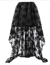 cheap -Women's Vintage Plus Size Asymmetrical A Line Skirts - Solid Colored Lace Black S M L