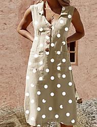 cheap -Women's Shirt Dress - Polka Dot Black Light Blue Light Green S M L XL