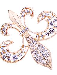 cheap -Women's Crystal Brooches Tennis Chain Creative Flower Luxury Basic Baroque Rock Fashion Rhinestone Brooch Jewelry Matt black Gold Silver For Wedding Party Daily Work Club