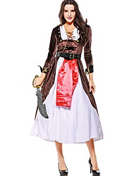 cheap -Pirate Costume Women's International Halloween Performance Theme Party Costumes Women's Dance Costumes Terylene Lace-up
