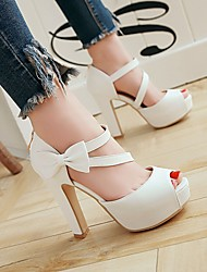 cheap -Women's Sandals Chunky Heel Peep Toe Bowknot Faux Leather Casual / Sweet Walking Shoes Spring &  Fall / Spring & Summer Black / Almond / White