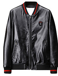cheap -Men's Daily / Holiday / Going out Basic / Street chic Spring &  Fall Regular Leather Jacket, Solid Colored / Letter Round Neck Long Sleeve PU / Polyester Patchwork Black / Gray