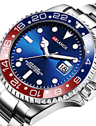 cheap -Men's Steel Band Watches Quartz Casual Water Resistant / Waterproof Stainless Steel Analog - Digital - Black Blue Red Two Years Battery Life / Calendar / date / day / Noctilucent / Large Dial