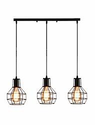 cheap -3-Light 3 Lights Metal Pendant Lamp Industrial Metal Cage Chandelier  Adjustable Pendant Lighting for Kitchen Island Black