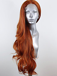 cheap -Synthetic Lace Front Wig Wavy Body Wave Free Part Lace Front Wig Blonde Long Orange Synthetic Hair 8-12 inch Women's Soft Elastic Women Blonde / Glueless