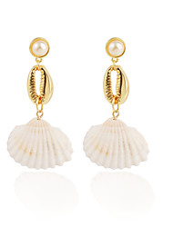 cheap -Women's Drop Earrings Hoop Earrings Earrings Geometrical Shell Bohemian Trendy Fashion Imitation Pearl Gold Plated Shell Earrings Jewelry Gold For Party Engagement Daily Holiday Festival 1 Pair