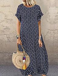 abordables -Femme Maxi Tee Shirt Robe Points Polka Noir Blanche Jaune L XL XXL Manches Courtes