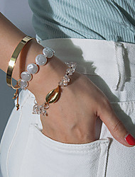 cheap -3pcs Women's Bracelet Bangles Bead Bracelet Bracelet Classic Precious Shell Luxury Trendy Sweet Fashion Pearl Bracelet Jewelry Gold For Gift Daily School Holiday Work