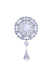 cheap -Women's AAA Cubic Zirconia Brooches Stylish Simple Pearl Brooch Jewelry White / Sliver For Wedding Party Engagement Gift Work