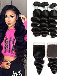 cheap -3 Bundles with Closure Hair Weaves Brazilian Hair Loose Wave Human Hair Extensions Remy Human Hair 100% Remy Hair Weave Bundles 345 g Natural Color Hair Weaves / Hair Bulk Human Hair Extensions 8-20