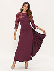 cheap -Women's Maxi Dress - Half Sleeve Solid Colored Lace Spring Spring & Summer Cocktail Party Prom Lace Wine Black Purple Navy Blue S M L XL XXL / Sexy