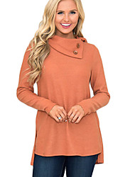 cheap -Women's Solid Colored Long Sleeve Loose Pullover Sweater Jumper, Round Neck Fall / Winter Black / Wine / White S / M / L