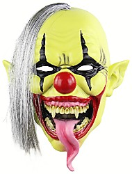 cheap -Halloween Scary Clown Mask with Hair for Adults Costume Party