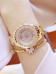 cheap -Women's Bracelet Watch Quartz Stainless Steel Silver / Gold Diamond Luminous Rhinestone Analog Ladies Charm Luxury Bangle Elegant - Gold Silver Golden Watch with Bracelet One Year Battery Life