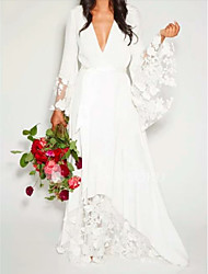 cheap -A-Line Wedding Dresses V Neck Floor Length Chiffon Lace Long Sleeve Casual Illusion Detail with Lace Insert 2020