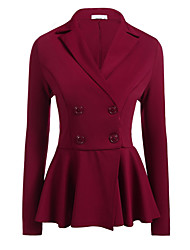 cheap -Women's Blazer Notch Lapel Polyester Black / Wine / White