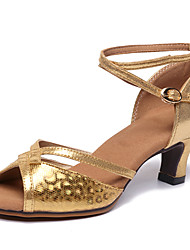cheap -Women's Latin Shoes Synthetics Heel Flared Heel Dance Shoes Gold / Silver / Coffee / Practice