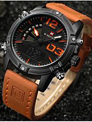 cheap -NAVIFORCE Men's Sport Watch Fashion Watch Dress Watch Japanese Quartz Genuine Leather Black / Orange / Brown 30 m Water Resistant / Waterproof Calendar / date / day Dual Time Zones Analog - Digital