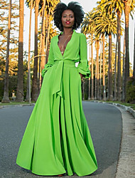 cheap -Women's Maxi Green Dress Street chic A Line Solid Colored Deep V S M
