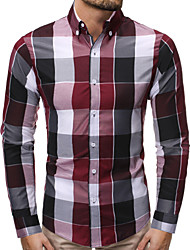 cheap -Men's Daily Basic Shirt - Solid Colored White / Blue, Lace up Purple