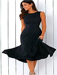 cheap -Women's Plus Size Wine Black Dress Swing Solid Colored S M
