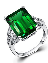 cheap -Women's Ring 1pc Green Copper Platinum Plated Square Unique Design Fashion Party Daily Jewelry 3D Cute Cool Lovely